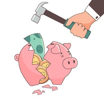 Piggy bank full of money broken by a hammer