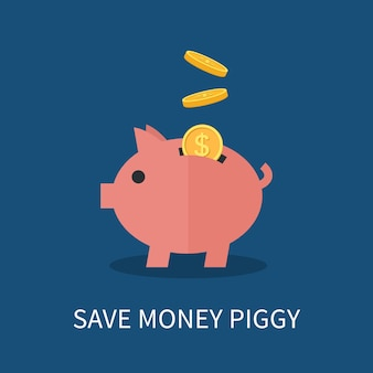 Piggy bank and gold coins. saving and investing money concept.