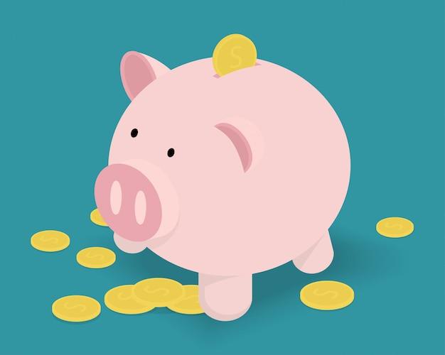 Piggy bank and golden coins.