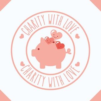 Piggy bank hearts cartoon charity with love