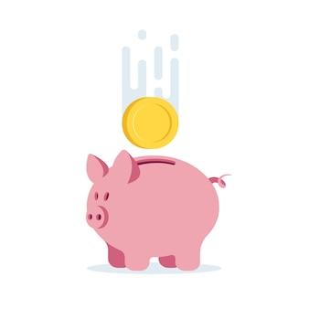 Piggy bank icon for website logo design with coin, vector illustration