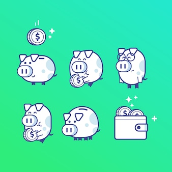 Piggy bank icons character