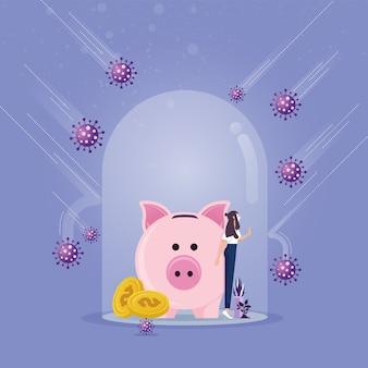 덮개 유리의 돼지 저금통은 코로나 바이러스로부터 보호하고 면역력을 발휘합니다.