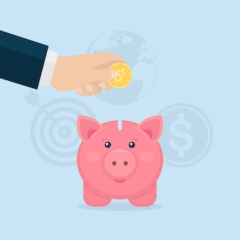 Piggy bank isolated. business man hold gold coin. save money. investment in retirement. wealth, income concept. saving deposits. cash falling in moneybox