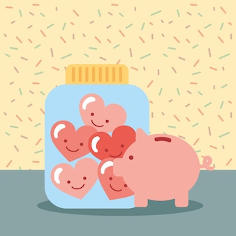 Piggy bank jar full love hearts donate charity