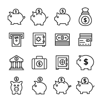 Piggy bank line icons pack