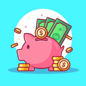 Piggy bank and money illustration isolated finance logo vector icon illustration in flat style