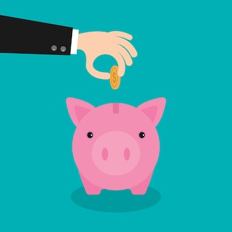 Piggy bank money savings concept of growth.