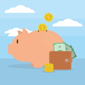 Piggy bank and money on sky