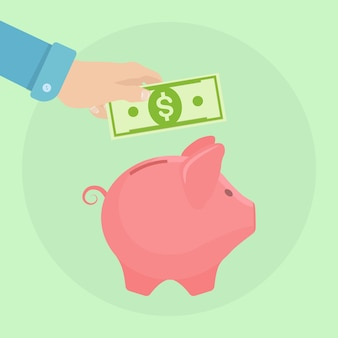 背景に貯金箱。ビジネスの男性は、通貨を保持します。お金を節約。退職への投資。富、収入の概念。預金を保存しています。貯金箱に落ちる現金