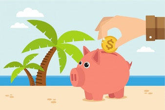 Piggy bank on vacation at beach. Save money for travel