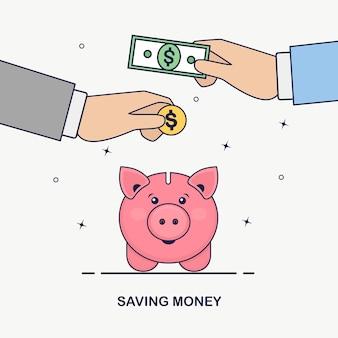 白い背景の上の貯金箱。ビジネスの男性は、ゴールドコイン、現金を保持します。お金を節約。退職への投資。富、収入の概念。預金を保存しています。貯金箱に落ちる現金
