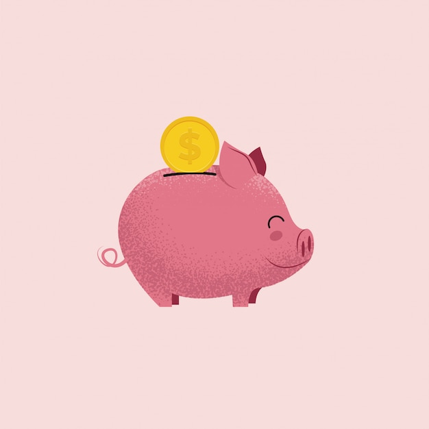 Piggy bank. pig money box with coin isolated on pink background. money saving or donation concept.