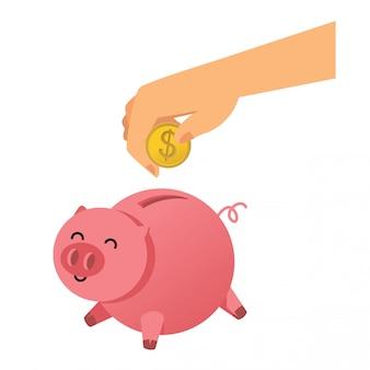 Piggy bank saving illustration