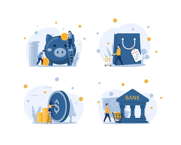 貯金、貯金または貯金 Premiumベクター