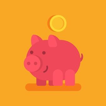 Копилка улыбается и золотая монета. бизнес-концепция. векторные иллюстрации.