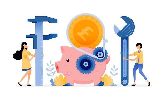 수리중인 돼지 저금통. 은행 시스템 개선