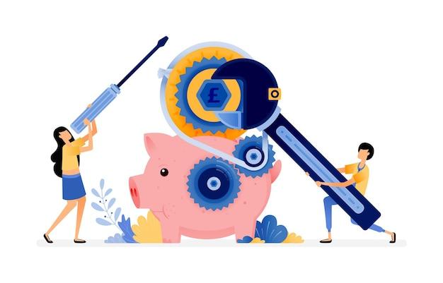 수리중인 돼지 저금통. 사람들은 은행에 돈을 저축하고 싶어합니다