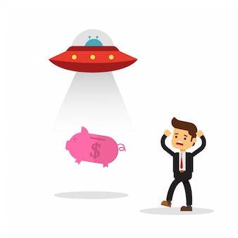 Piggy bank was attracted by tax ufo