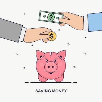 Piggy bank  on white background. business man hold gold coin, cash. save money. investment in retirement. wealth, income concept. saving deposits. cash falling in moneybox
