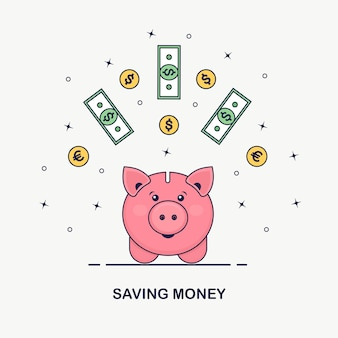 Piggy bank  on white background. business man hold gold coin, currency. save money. investment in retirement. wealth, income concept. saving deposits. cash falling in moneybox.