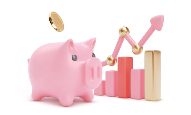 Piggy bank with 3d arrow isolated. money savings or accumulating, financial services  illustration