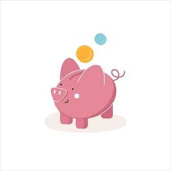 동전 저축 또는 저축 아이콘이 있는 돼지 저금통 투자 돼지 저금통 아이콘 배경에 고립