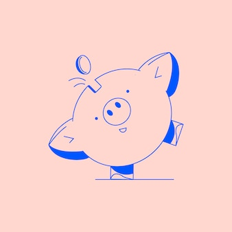 Piggy bank with coin. icon saving or accumulation of money, investment