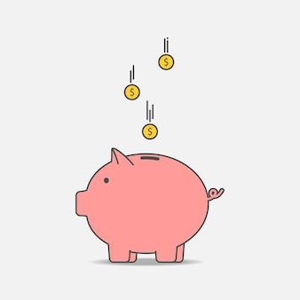 동전과 돼지 저금통입니다. 돼지 형태의 저금통입니다. 돈을 절약의 개념입니다. 벡터 일러스트 레이 션.