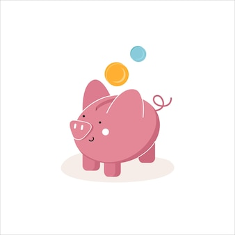 Piggy bank with a coin savings or savings icon investment piggy bank icon isolated on background