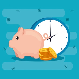 Piggy bank with coins and clock