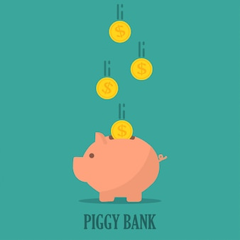 Piggy bank with coins in a flat design. the concept of saving or save money or open a bank deposit
