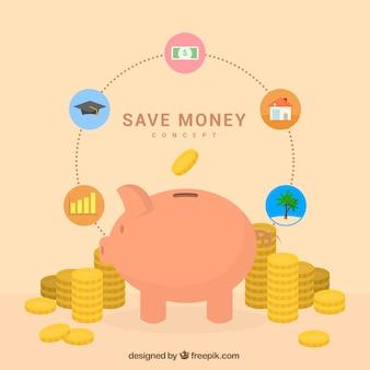 Piggy bank con monete e icone