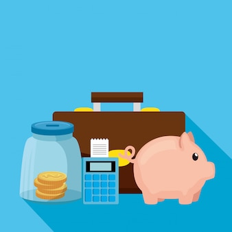 Piggy bank with dataphone and business icons