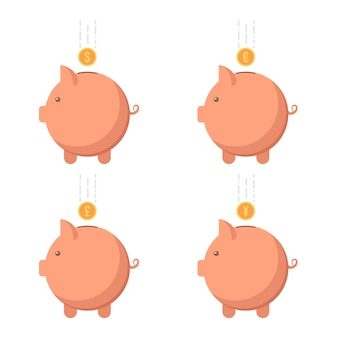 Piggy bank with different currency
