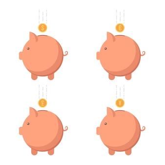 異なる通貨の貯金箱