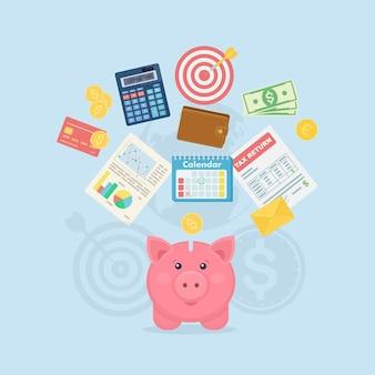 Piggy bank with dollar bills, calculator, calendar, wallet, tax form, credit card on background