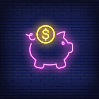 Piggy bank with dollar coin. Neon sign element. Night bright advertisement