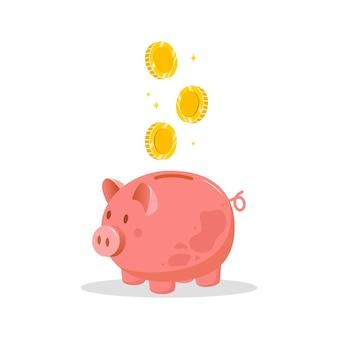 コインが落ちる貯金箱。お金を節約するコンセプト。