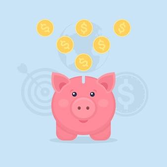 青で分離された金貨と貯金箱