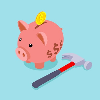 Piggy bank with golden coin and lying hammer