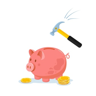 Piggy bank with hammer raised above it to smash