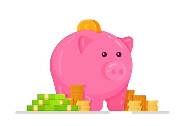 A piggy bank with mountains of coins and dollars. piggy bank with coin vector illustration. the concept of banking or business services. flat style piggy bank icon isolated from the background.