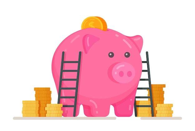 A piggy bank with mountains of coins and dollars piggy bank with coin vector illustration