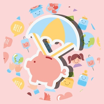 Piggy bank with parachute cartoon charity image