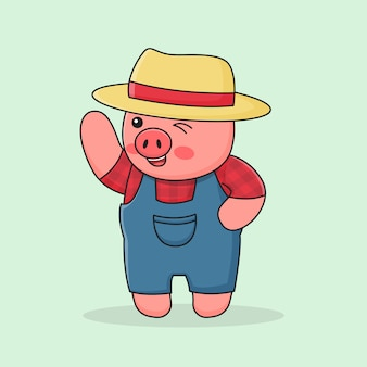 Piggy farmer with hat