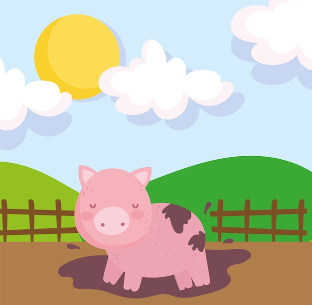 泥の木のフェンスの空の農場の動物に豚