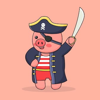 Piggy pirate with hat and sword