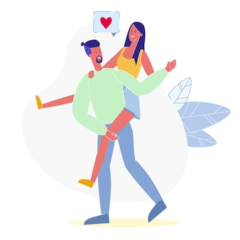 Piggyback ride, romance flat vector illustration