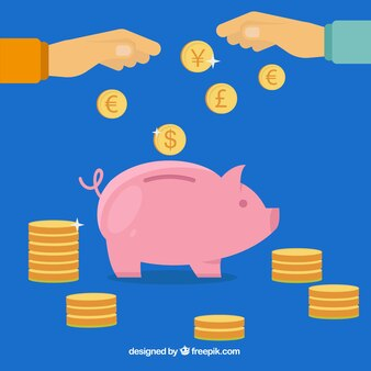 Piggybank and golden coins Premium Vector
